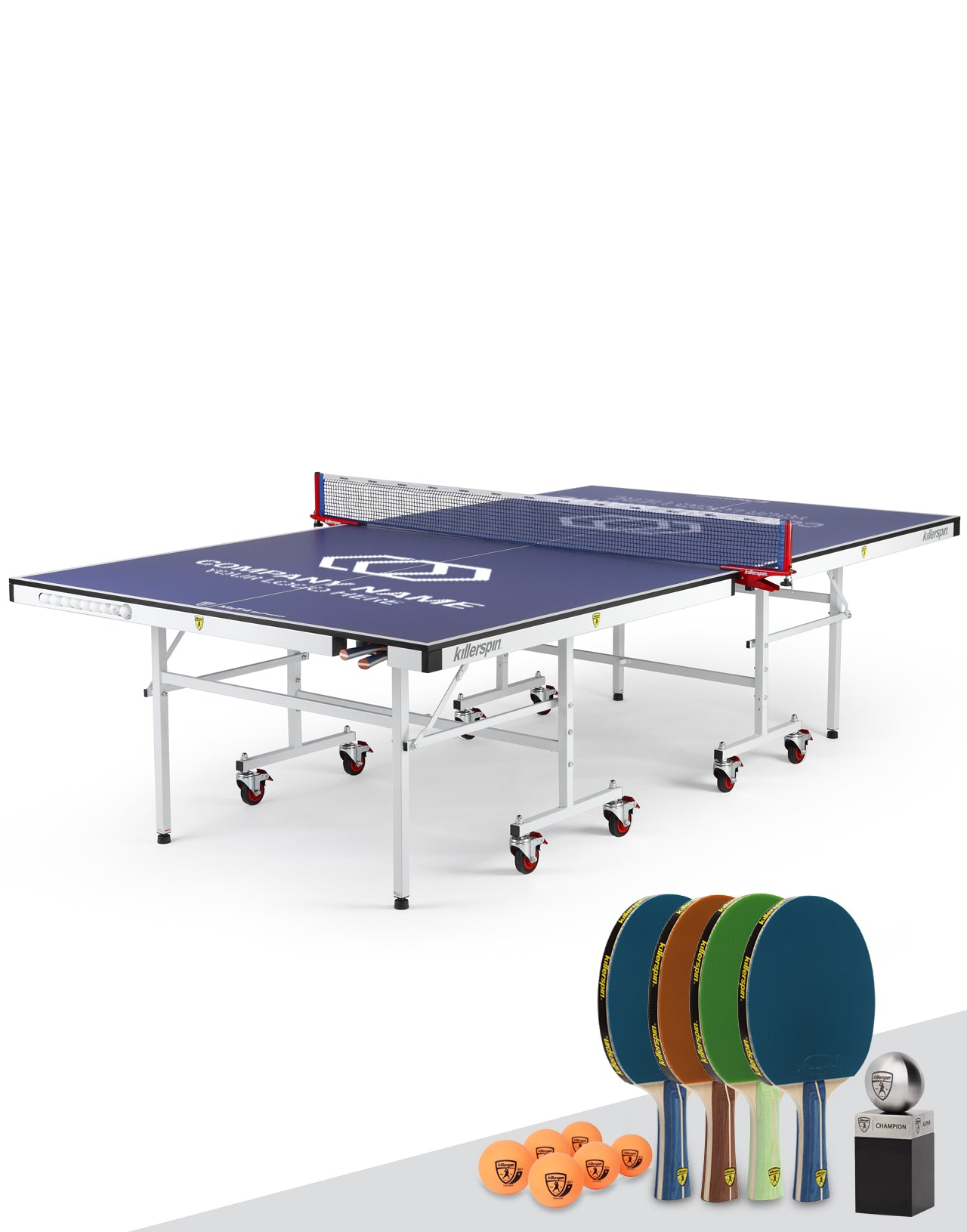 Killerspin MyT Ping Pong Table Indoor UnPlugNPlay Party Package MyT4 Blu Pocket Custom Print