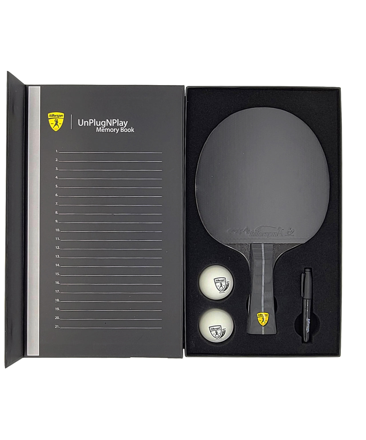 killerspin-ping-pong-paddle-impact-D9-smart-grip-memory-book-paddle-in-the-box