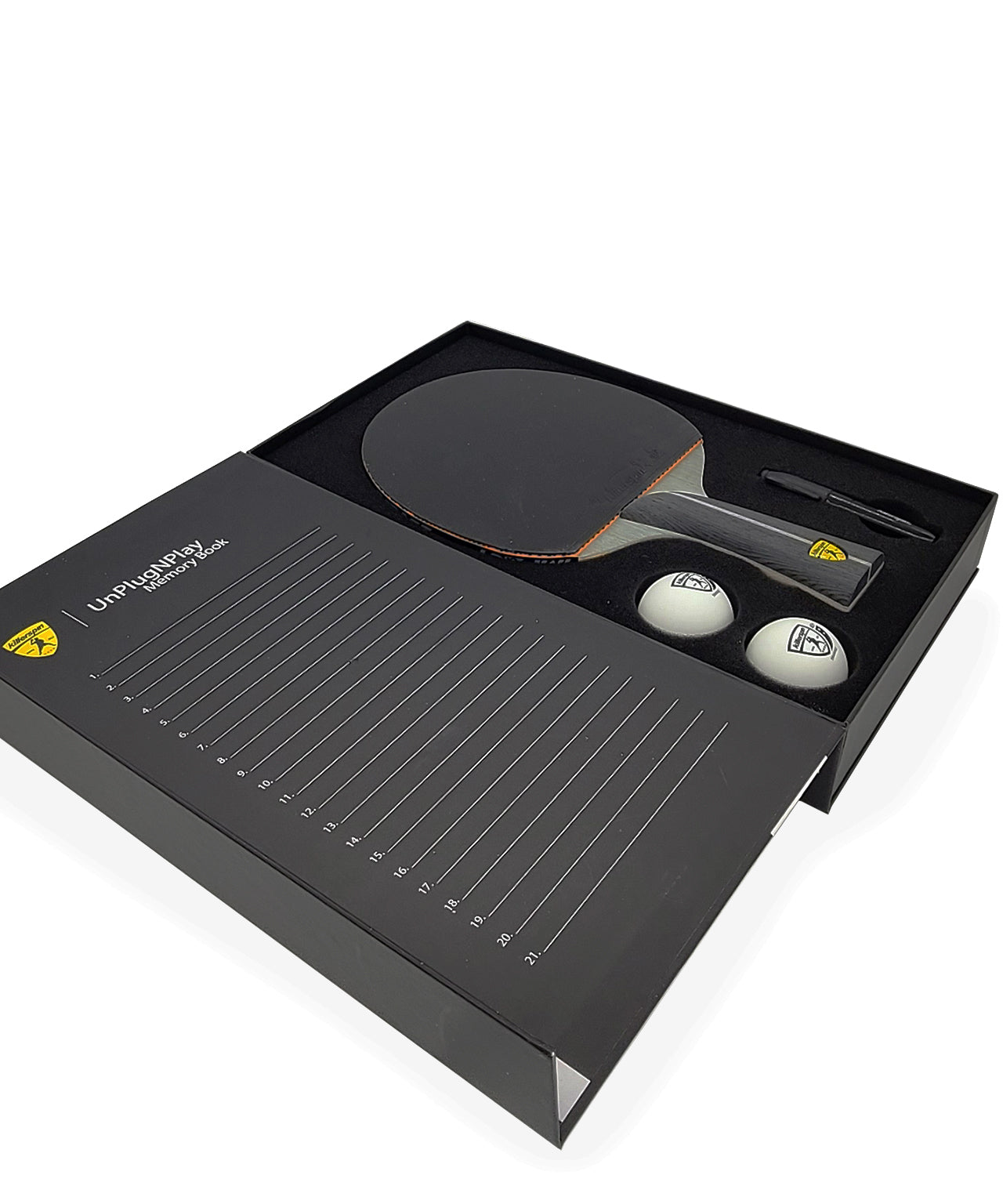 killerspin-ping-pong-paddle-impact-D9-smart-grip-memory-book-racket-balls