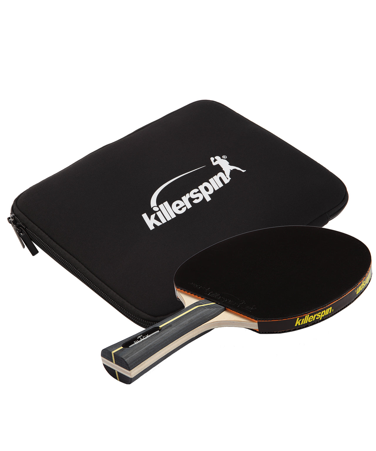 Killerspin Jet Black Combo Ping Pong Paddle Table Tennis Paddle Case
