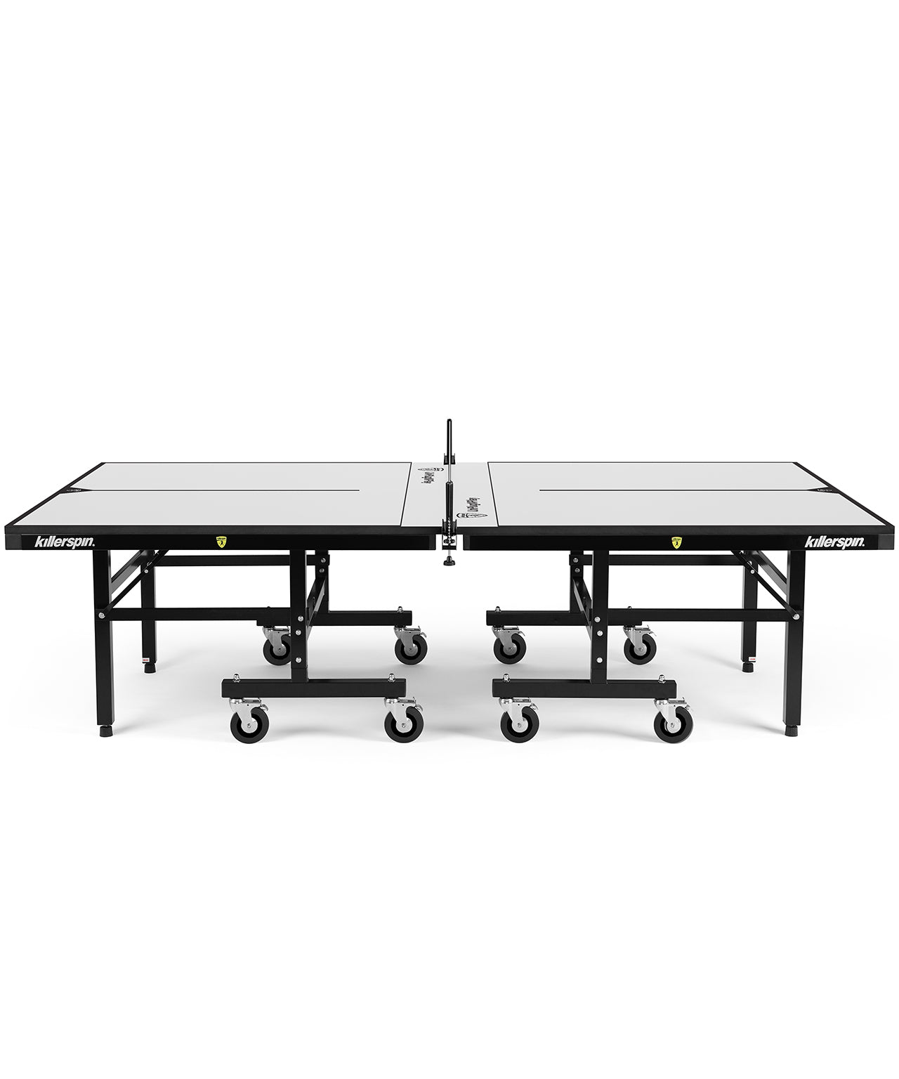 Killerspin Indoor Ping Pong Table UnPlugNPlay415 Max Vanilla Black frame White top model 2020 - side angle