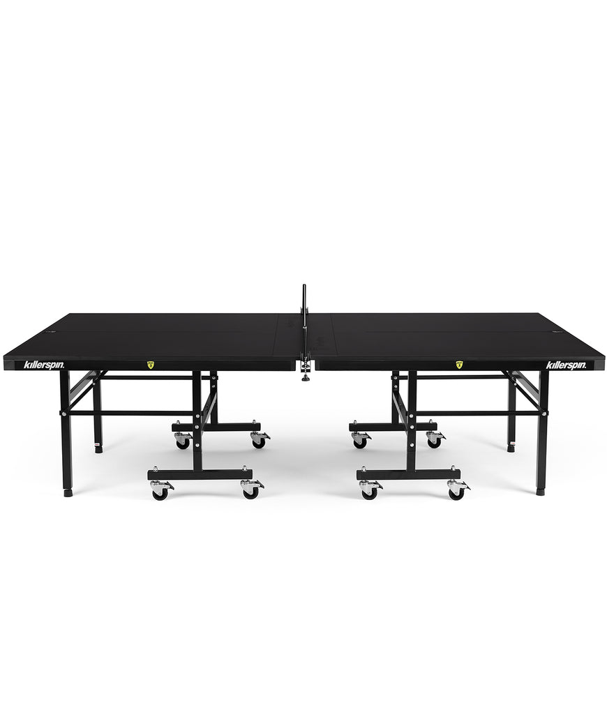 Killerspin Indoor Ping Pong Table UnPlugNPlay415 Mega DeepChocolate Black frame Black top model 2020 - side angle