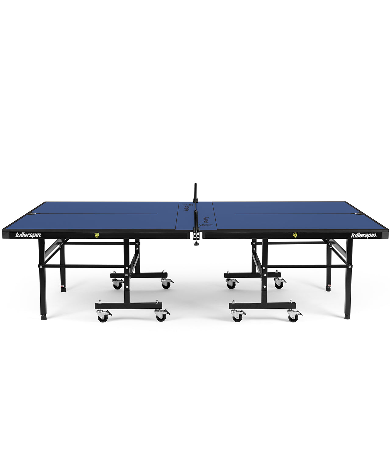 Killerspin Indoor Ping Pong Table UnPlugNPlay415 Mega DeepBlu Black frame Blue top model 2020 - side angle