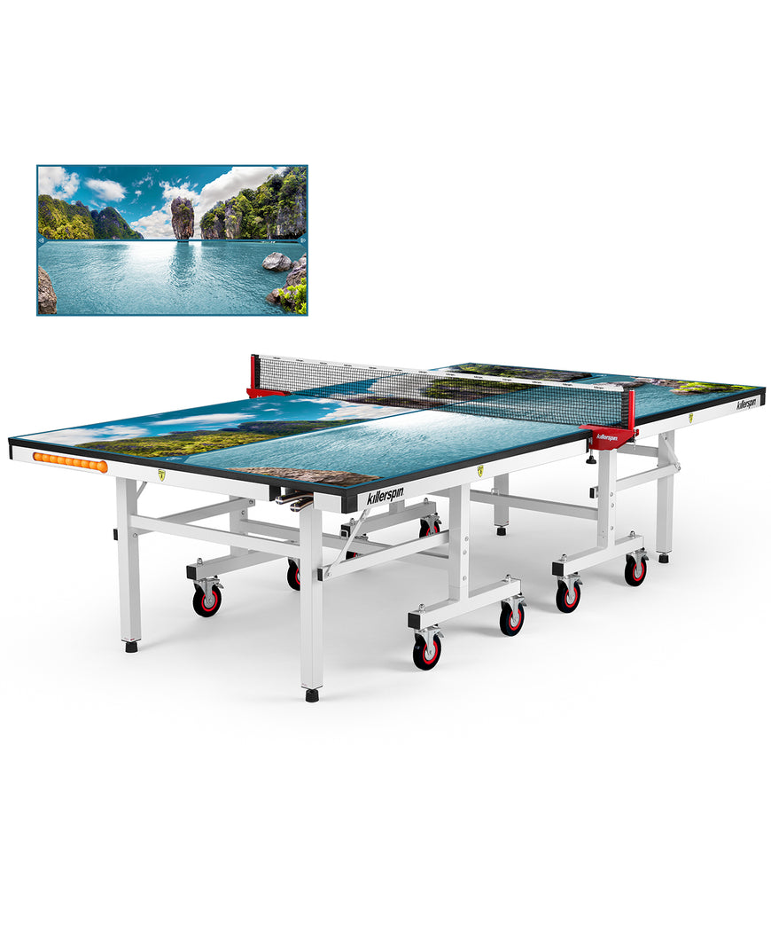 Killerspin MyT Ping Pong Table Designer Series White Frame Paradise Lake