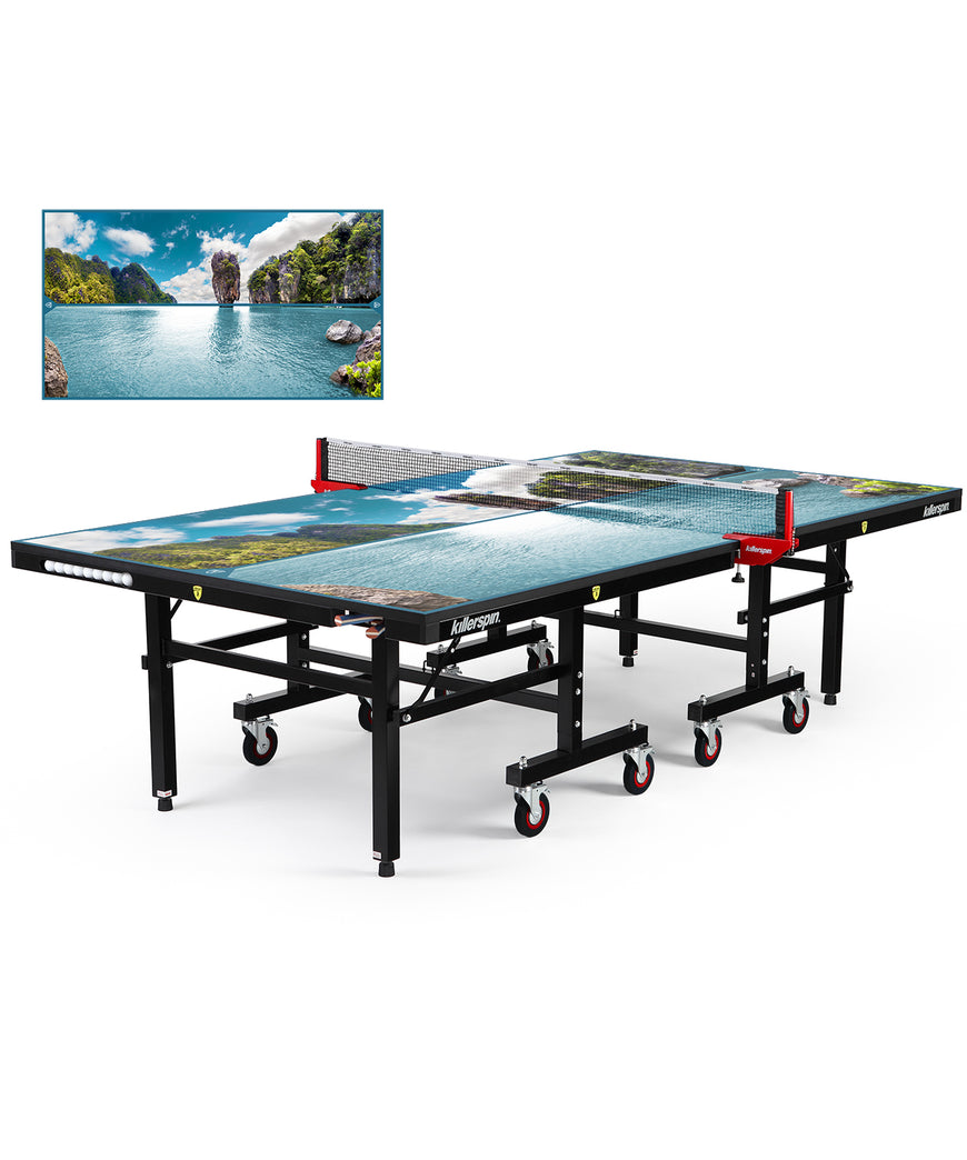 Killerspin MyT Ping Pong Table Designer Series Black Frame Paradise Lake