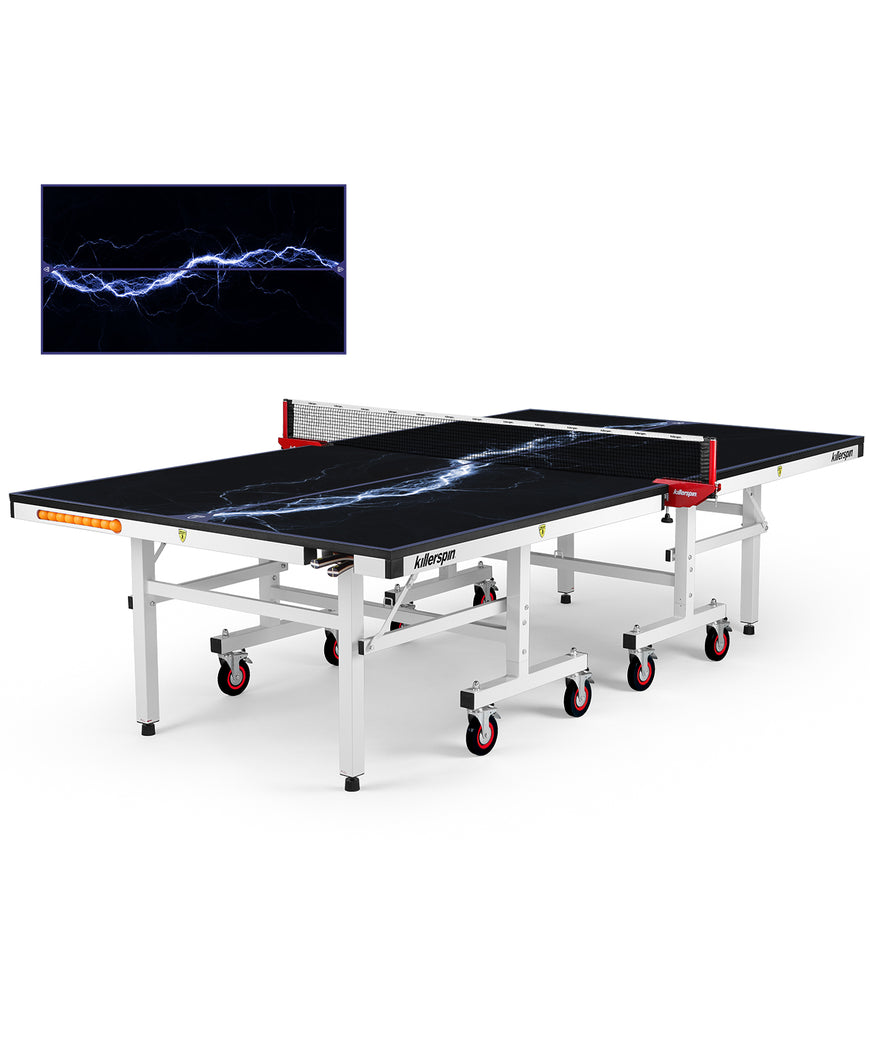 Killerspin MyT Ping Pong Table Designer Series White Frame Storm