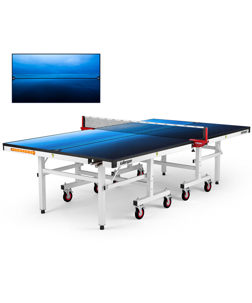 Killerspin MyT Ping Pong Table Designer Series White Frame Paradise Blue