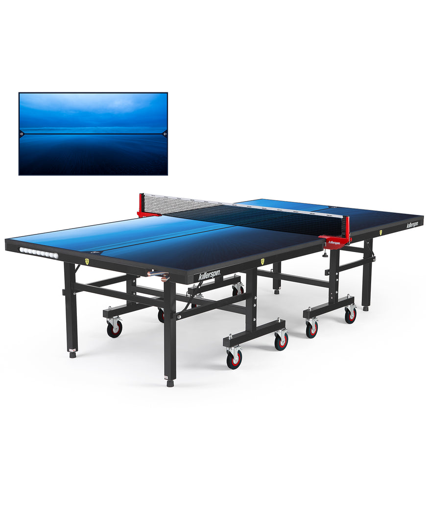 Killerspin MyT Ping Pong Table Designer Series Black Frame Paradise Blue