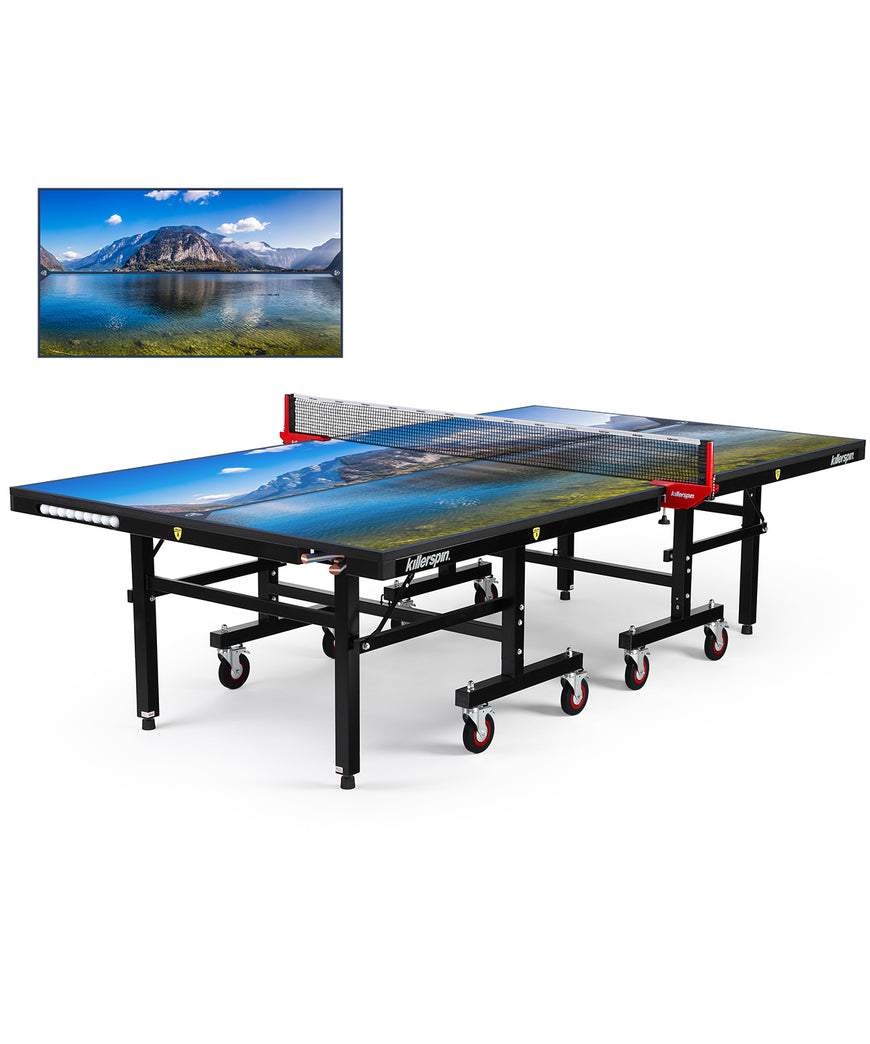Killerspin MyT Ping Pong Table Designer Series Black Frame Paradise
