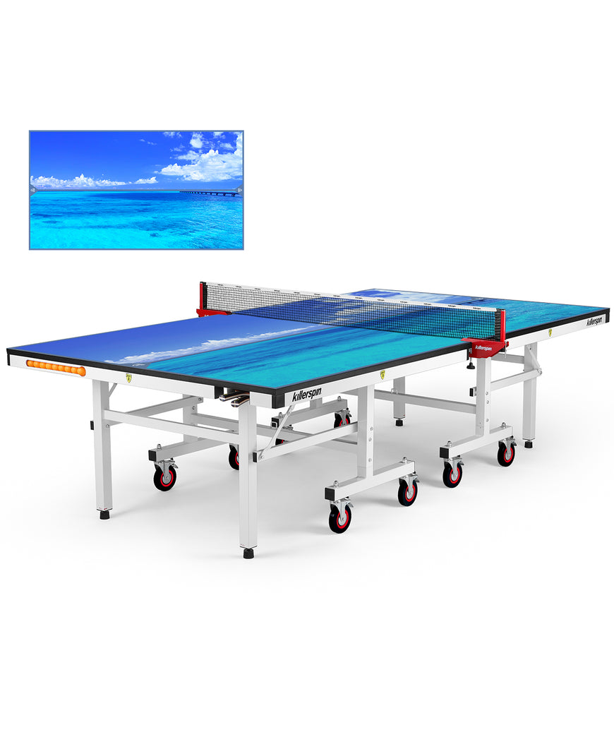 Killerspin MyT Ping Pong Table Designer Series White Frame Paradise Sea