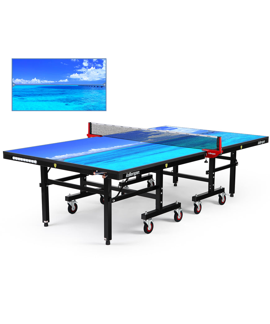 Killerspin MyT Ping Pong Table Designer Series Black Frame Paradise Sea