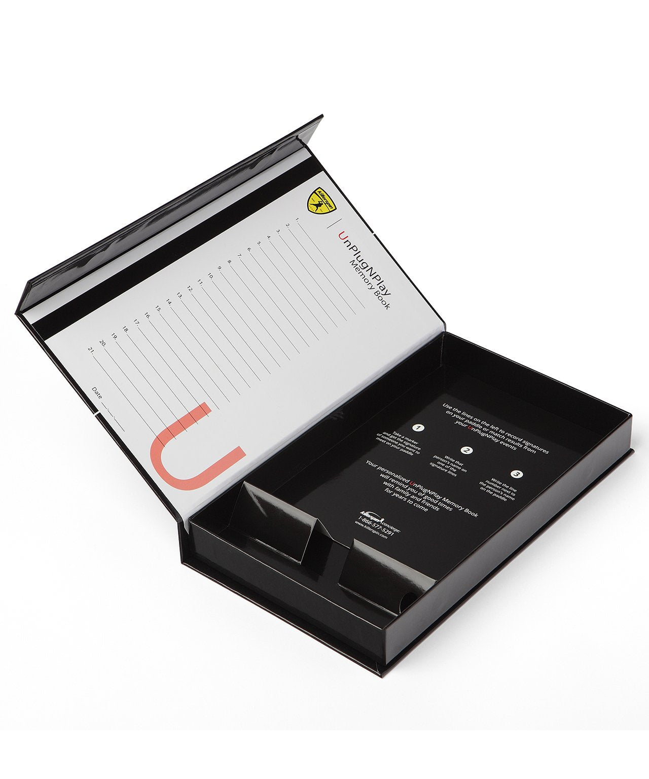 Killerspin Black Memory Book Ping Pong Paddle Gifting Box