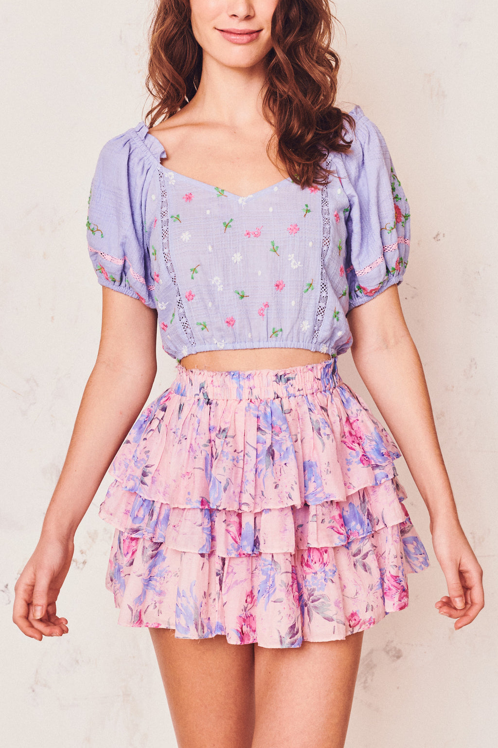 Love Shack Fancy Brynlee Skirt Whispering Lilac
