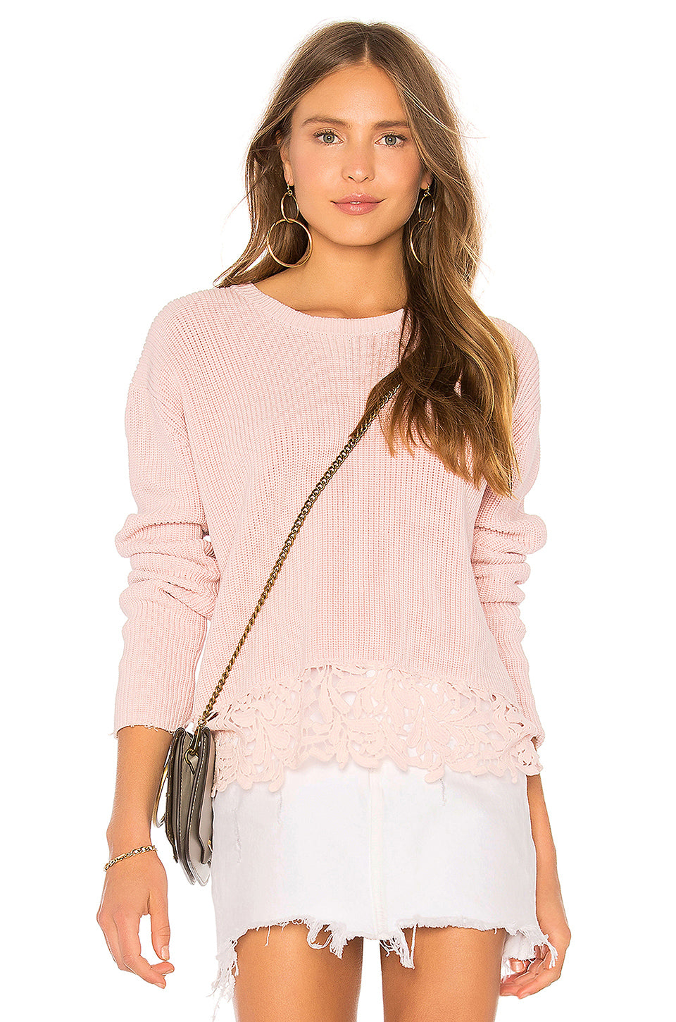 Generation Love Felix Lace Pink Sweater