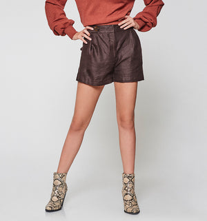 Studio Chocolate Linen Shorts