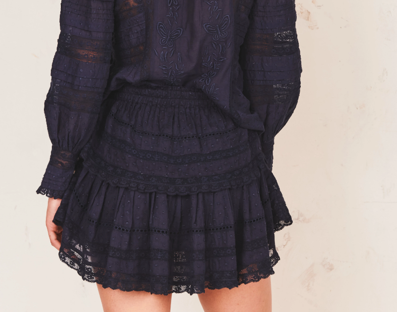 Love Shack Fancy Ruffle Navy Mini Skirt