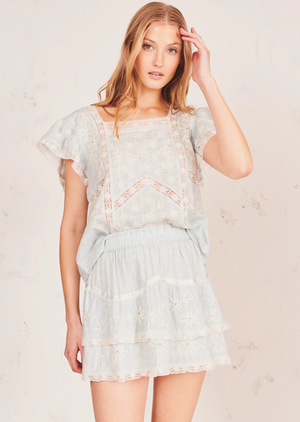 Love Shack Fancy Tully Sky Blue Skirt
