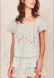 Love Shack Fancy Steffi Sky Blue Top