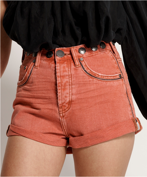One Teaspoon Coral Studded Bandits Short