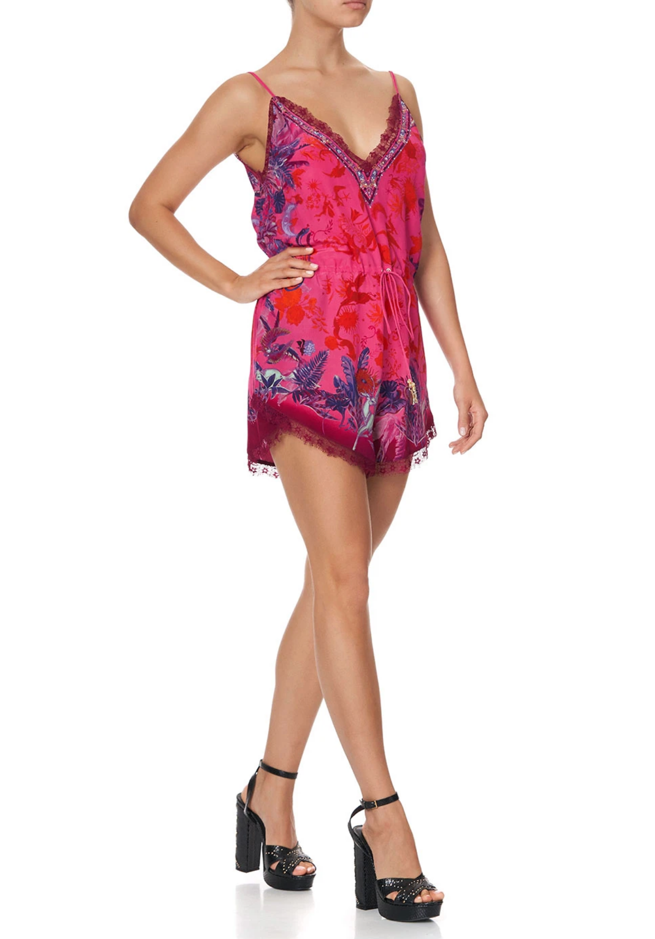 Camilla V-Neck Lace Tropicof Playsuit