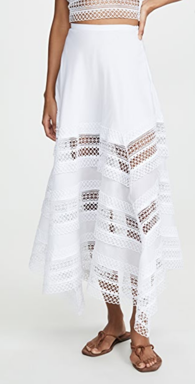 Charo Ruiz Benna White Long Skirt