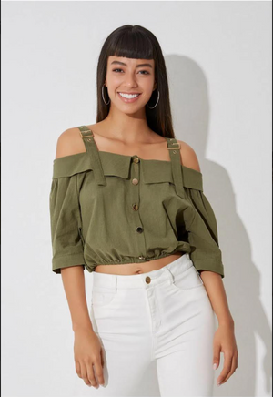 Forrest Off Shoulder Blouse in Linen