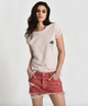 One Teaspoon Organic Red Junkyard Relaxed Denim Mini Skirt
