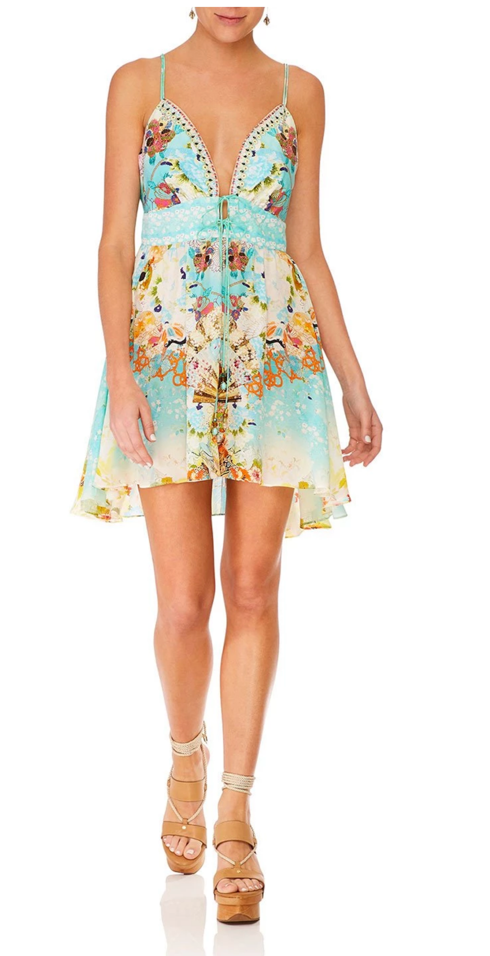 Camilla Retro Rainbow Tie Front Mini Dress