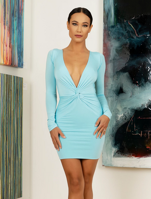 Tracy N Collection Blanca  Turquoise Dress