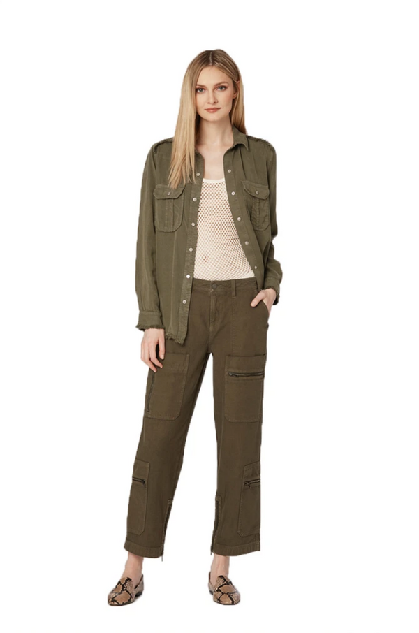 Etienne Marcel Frayed Work Shirt Military