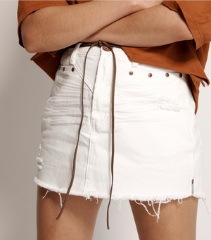 One Teaspoon White Beauty Trucker Skirt