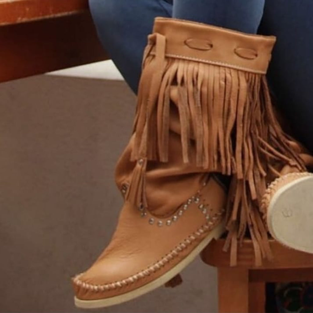 Hector Long Boots Camel With Fringe
