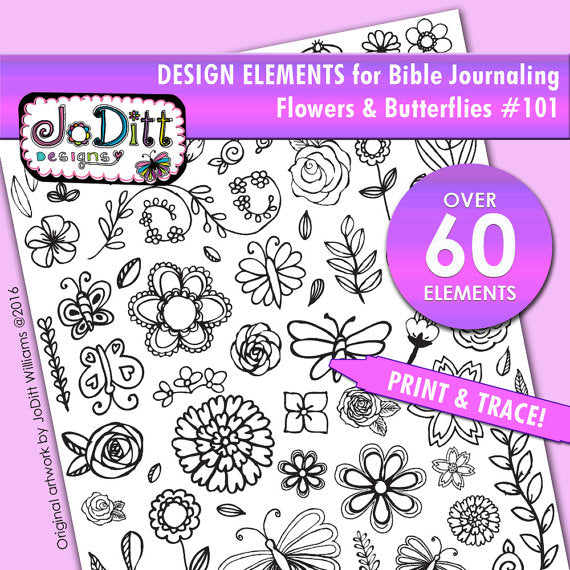 60+ Design elements for Bible Journaling - Flowers & Butterflies