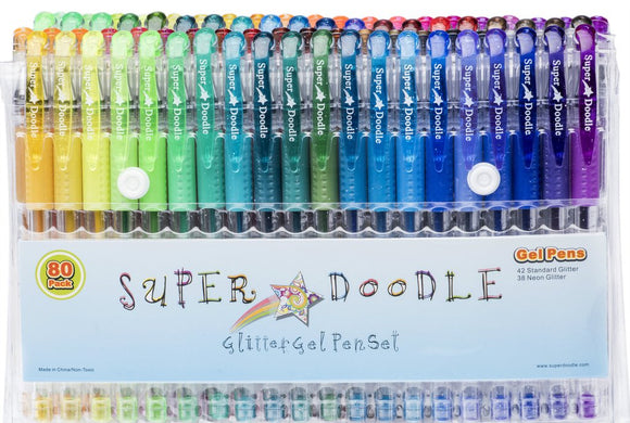 Super Doodle Glitter Gel Pens - 80 Unique Glitter Colors