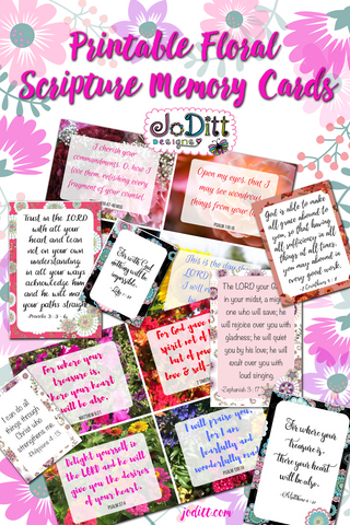 Floral Scripture Memory Cards Printable by JoDitt Designs