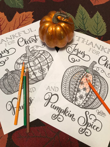 Jesus Christ and Pumpkin Spice Coloring Page for Adults, Teens and Kids