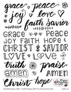 Hand-lettered Words of Faith Traceables