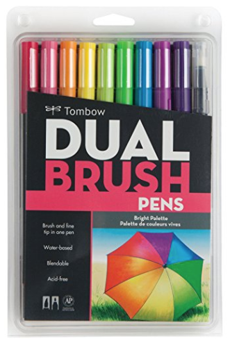 Tombow Dual Brush Pen Art Markers, Bright, 10-Pack