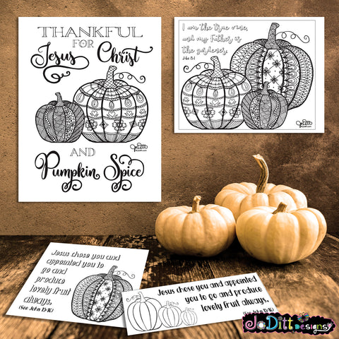Pumpkin Bible Journaling Printables for Autumn, Jesus Christ and Pumpkin Spice Coloring Pages for Adults