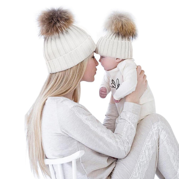 2 Piece Set Winter Hats for Kids & Mom - Pajamas Haven