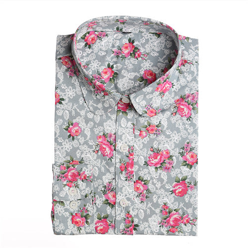 Women's Floral Long Sleeve Vintage Blouse - Pajamas Haven