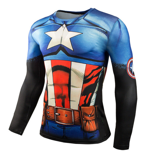 Men's Superheroes Gym Compression  Long Sleeve Shirt - Pajamas Haven