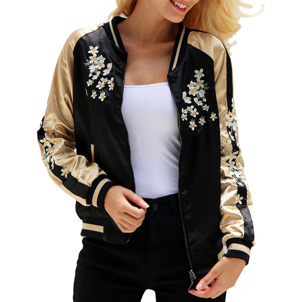 Floral Embroidery Satin Jacket - Pajamas Haven