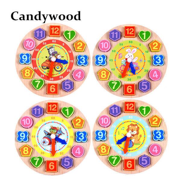 Kids Wood Wood Geometry Clock Toy - Pajamas Haven