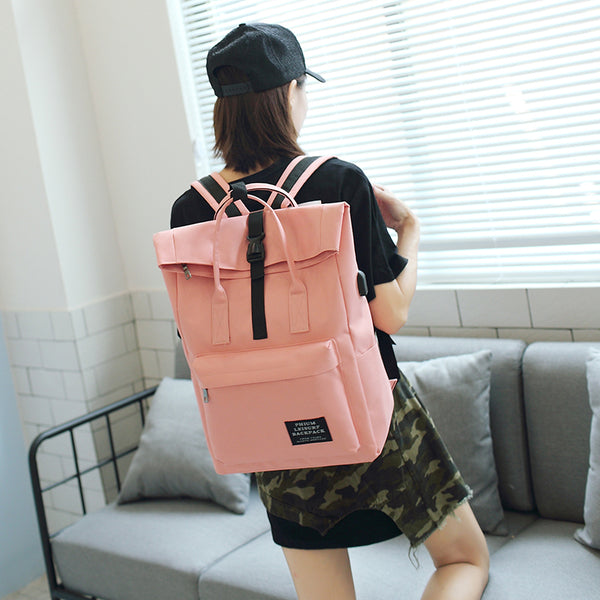 Women's  External USB Charge Laptop Canvas Backpack - Pajamas Haven