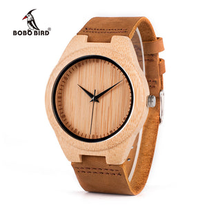Leather Classic Bamboo Wooden Watch - Pajamas Haven