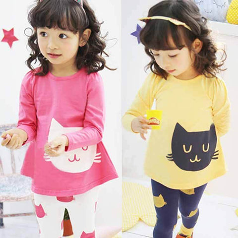 Girls Cutie Cat Set - Pajamas Haven