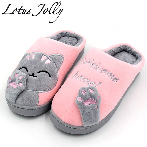 Women's Cartoon Cat Winter Home Slippers - Pajamas Haven