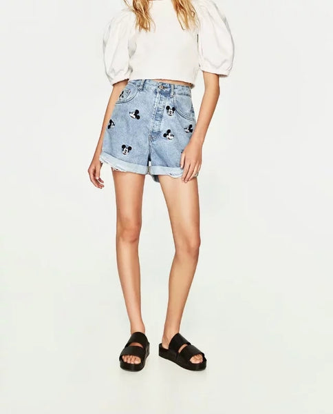 Women's Withered Mickey Denim Shorts - Pajamas Haven
