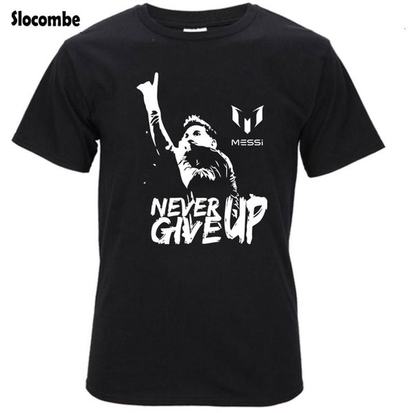 Leo Messi NEVER GIVE UP Tshirt - Pajamas Haven